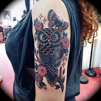 tatuagem de coruja em fotos