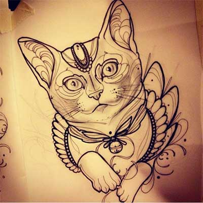 44 desenhos de tatuagens de gatos fotos e dicas