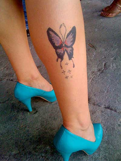 tatuagens de borboletas na perna