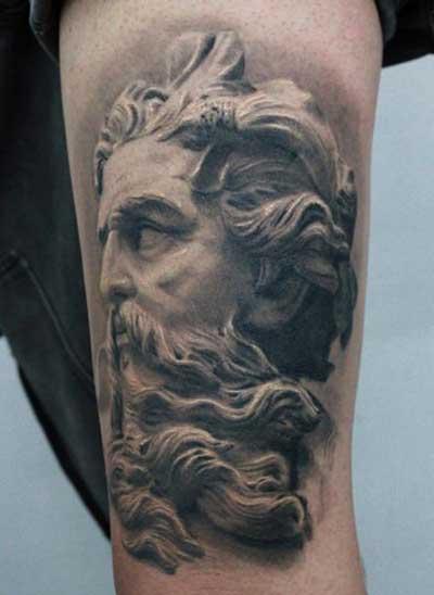 Tatuagens De Deus Grego Indiano Cristão No Braço Fotos