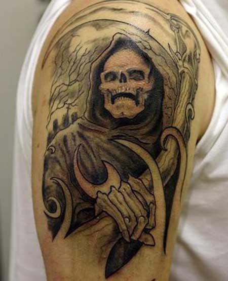 Pin Da Morte No Ombro Tatuagem Com Cartas De Baralho on Pinterest