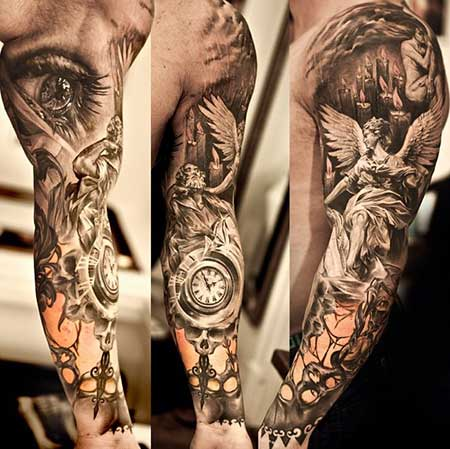 35 fotos de tatuagens realistas masculinas e femininas for Arm mural tattoos