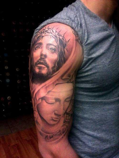 Tatuagem De Jesus Cristo No Braço Inteiro