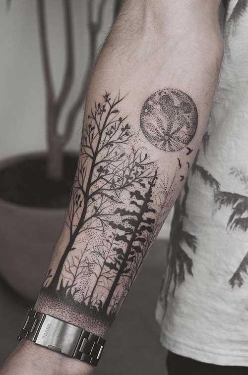 Tatuagens no antebraço floresta negra