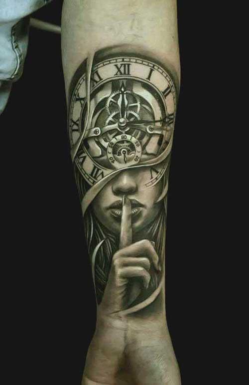 Tatuagens no antebraço relógio da vida